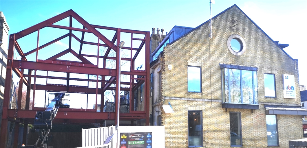 Saunders Boston Office Extension – Steel Frame Erected